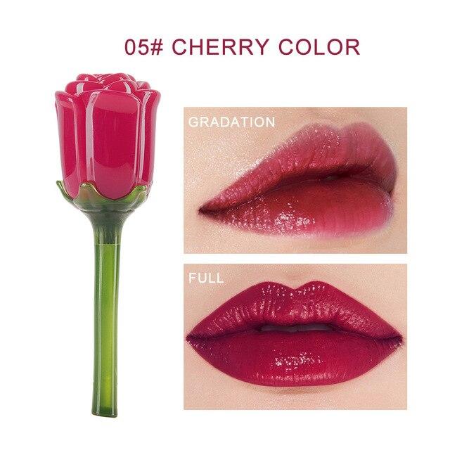 HANDAIYAN espejo flor brillo de labios impermeable lápiz labial líquido 5 colores tinte de labios maquillaje de labios nutritiva belleza cosméticos TSLM2