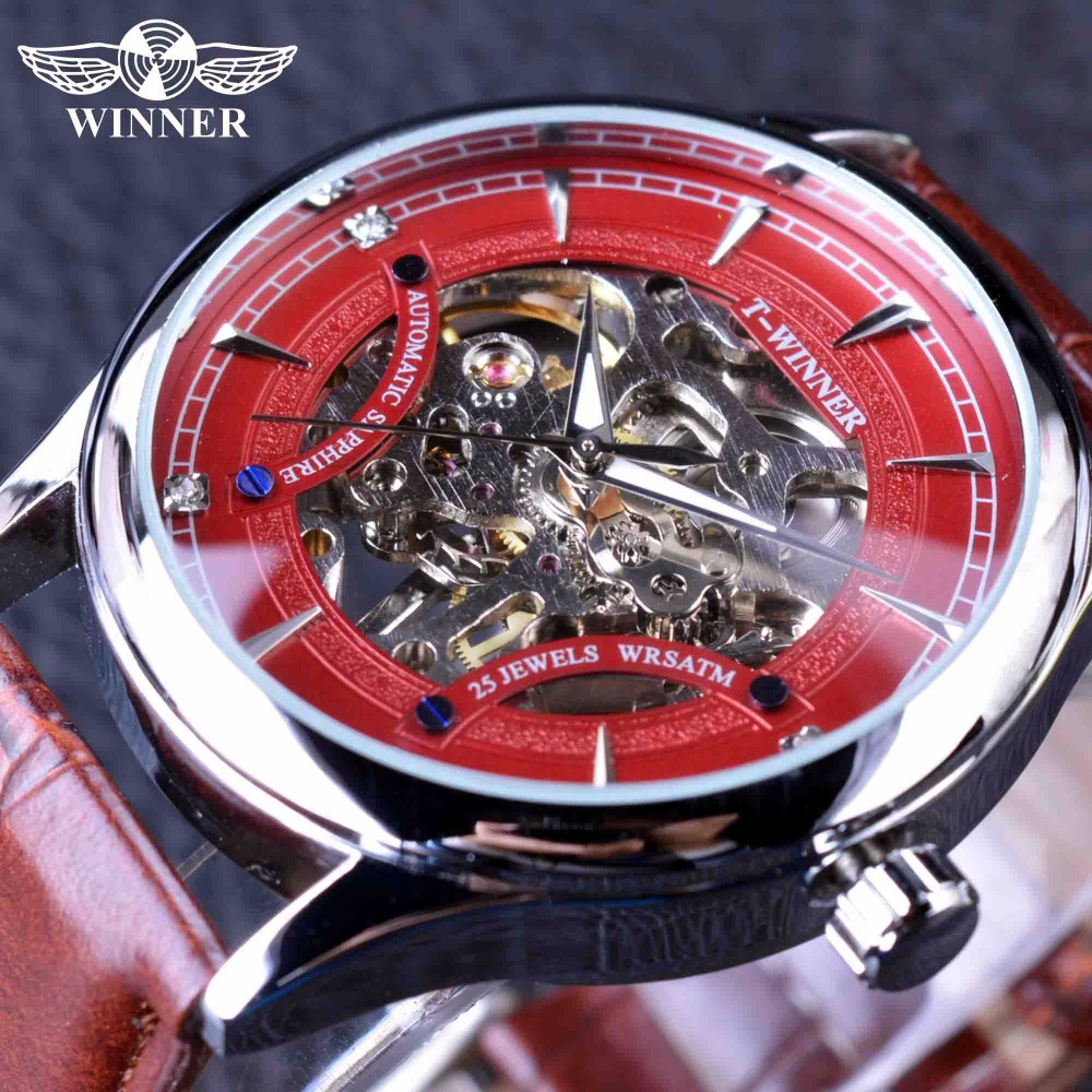 Winner Red Racing Fashion Stylish Red Skeleton Sport Design Classic Transparent Men Watches Top Brand Luxury Mechanical Watch