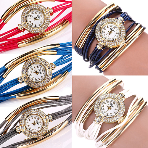 Fashion Lady Multi Layer Copper Tube Wax Rope Rhinestone Dress Bracelet Watch