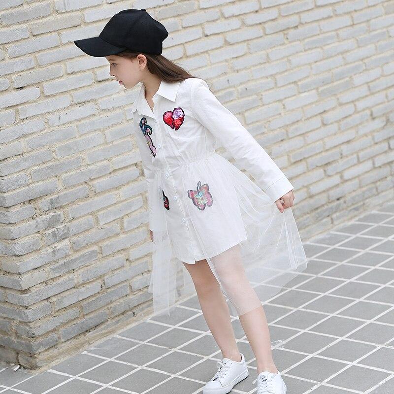 Dresses for Girls 10 12 14 15 8 6 Years Toddler Dress Full Sleeve Girls Blouse Sequins Patchwork White Mesh Summer Dress 2018 in Dresses from Mother Kids