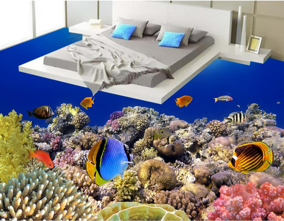 ФОТО custom pvc self adhesive wallpaper 3d flooring Tropical coral fish bathroom wallpaper 3d floor mural wallpaper