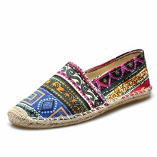 Bohemia Canvas Espadrilles Women Summer Casual Shoes Flats Loafers Slip On Canvas Chaussure Femme Unisex Plus Size 44