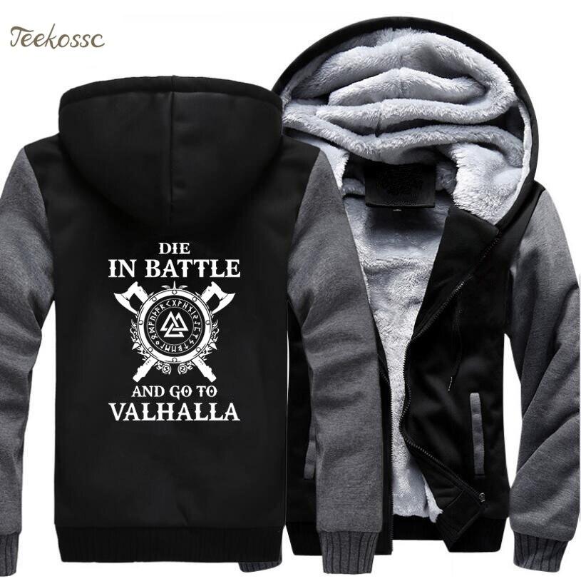 Odin Vikings Hoodie Men Die In Battle And Go To Valhalla Hooded Sweatshirt Coat 2018 Winter  Fleece Hip Hop Jacket Plus Size 5XL