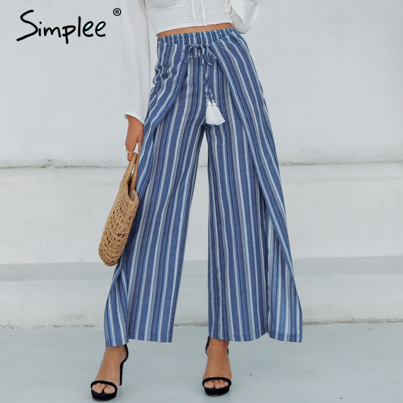 Simplee Casual striped women long   pants     capris   High waist sashes tassel pleated cotton linen   pants   Boho trousers female 2019
