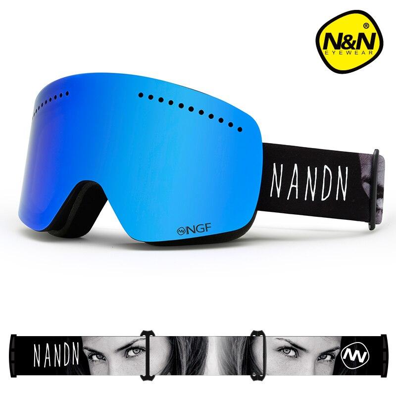 NANDN зимние лыжные очки двухслойные UV400 Анти-туман большой Лыжная маска очки на лыжах мужские и женские зимние очки для катания на сноуборде