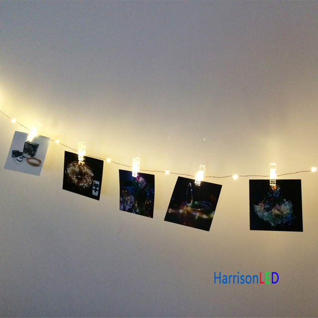 Harrisontek 33ft100 Led Fairy Lights Copper Wire Photo Hanging Clips String Starry Diy Wall