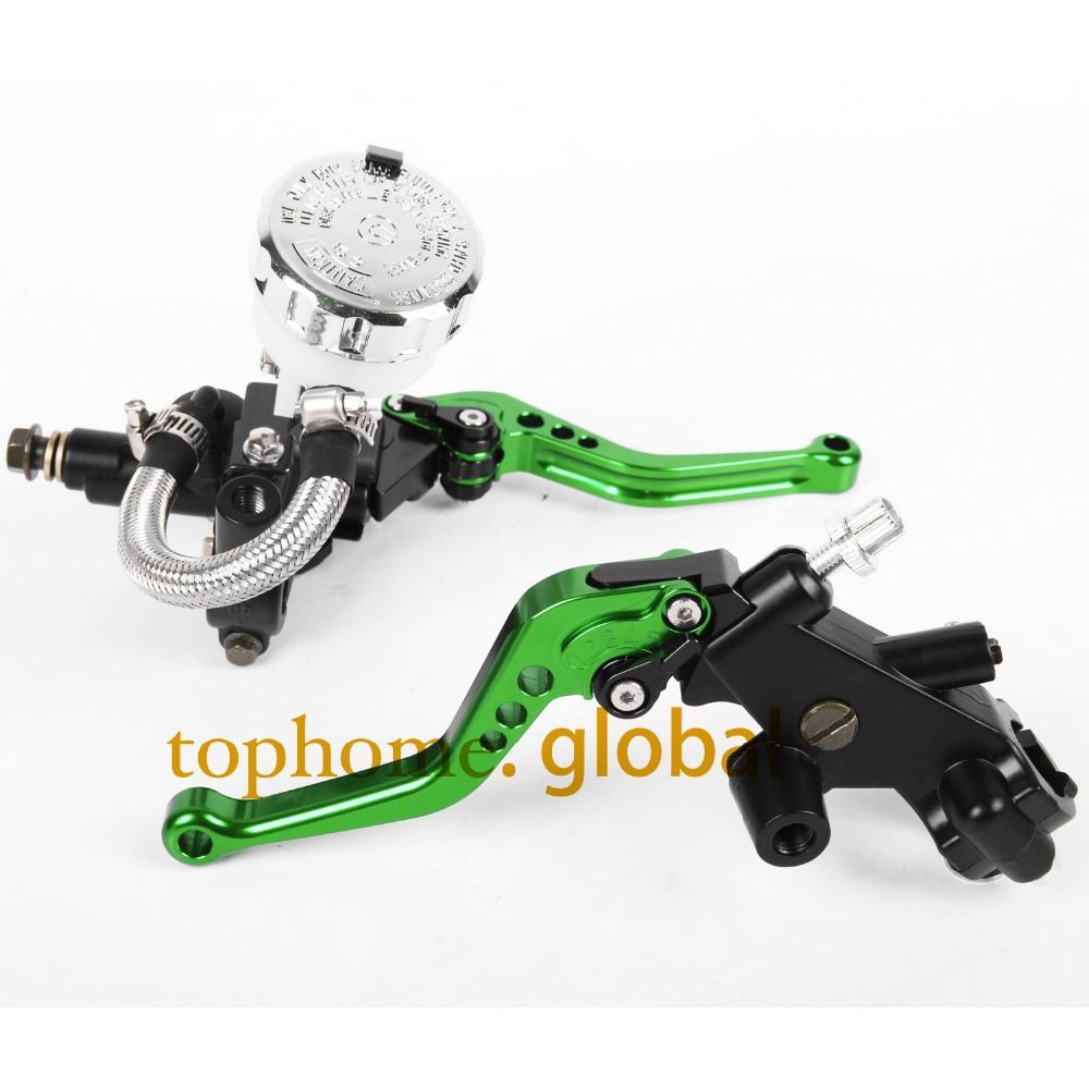 CNC Front Brake Master Cylinder&Clutch Brake Levers 7/8 with Adjustable Fluid Reservoir For Kawasaki ZXR400 All years motorcycle parts 7 8 22mm racing cnc adjustable green front brake clutch short levers master cylinder fluid reservoir set