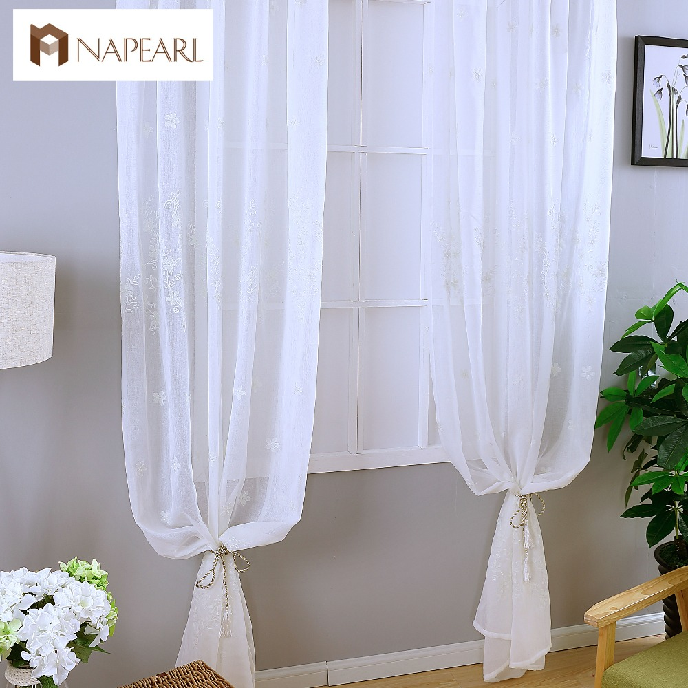 Designer curtain panels - Embroidered Tulle Curtains White Linen Modern Sheer Living Room Window Treatments Kitchen Door Floral Design Short