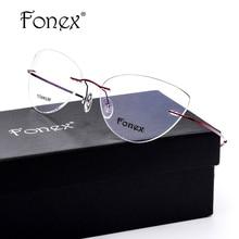 c151db85d0 Rimless Glasses Frame Women Titanium Eyeglasses Female New Prescription Cat  Eye Screwless Eyewear Myopia Optical Frame Silhouett