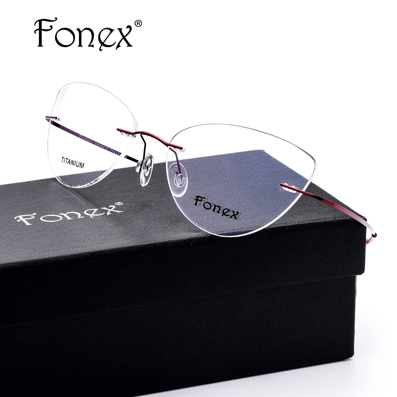Rimless Glasses No Screws : ?FONEX No Screw 2017 Cat ? Eye Eye Rimless Prescription ...