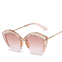 Luxury Half frame Ladies Sunglasses Women Rhinestone Diamond Sun Glasses Crystal Stone Oversized Ocean Glassesu UV400 Lentes De