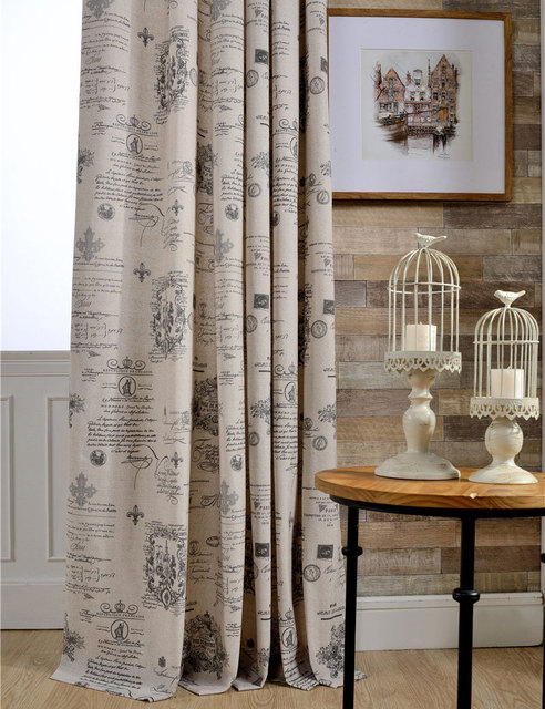 Cafe Kitchen Curtains Polyester Cotton Drapes Home Decoration Window  Treatments Vintage Style European Curtains 1 Panel