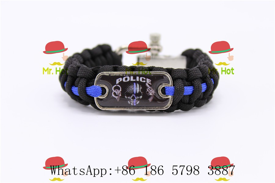 Us 3 09 5 Off Thin Blue Line Bracelet Police Lives Matter Canada Canadian Flag Law Enforcement Size Wristband In Buckles Hooks From