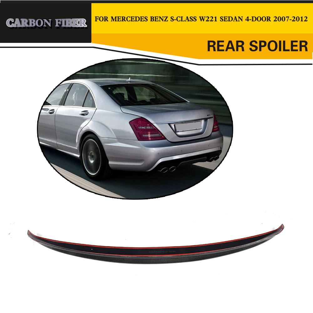 Carbon fiber Rear Trunk Spoiler Wing for Mercedes Benz S-Class W221 S350 S400 S450 S500 S550 S63 AMG Sedan 4-Door 2007-2012