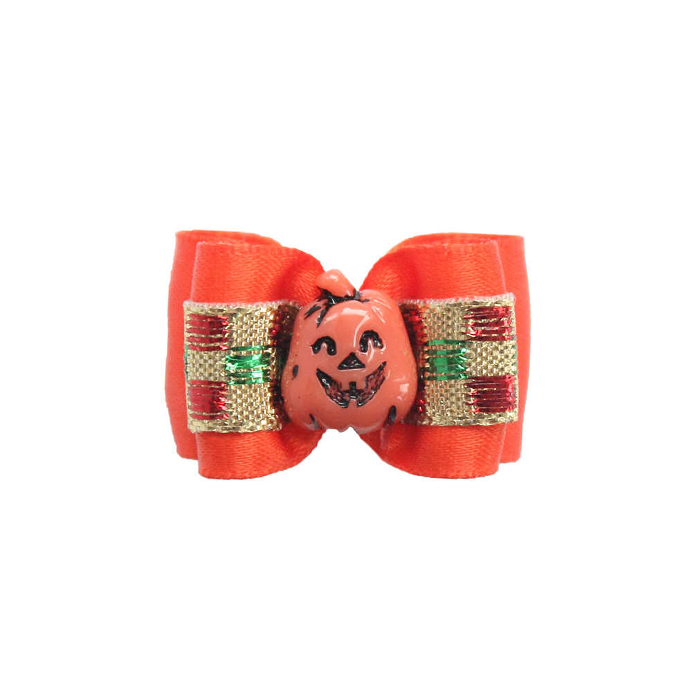 50 Cái Handmade Halloween Dog Bow Bí Ngô Smiley Ribbon Chó Tóc Bows 6026013 Pet Phụ Kiện Bán Buôn