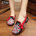 fashion Chinese style peach blossom shoes women embroidery women's flats shoes spring and summer leisure simple shoes for ladies