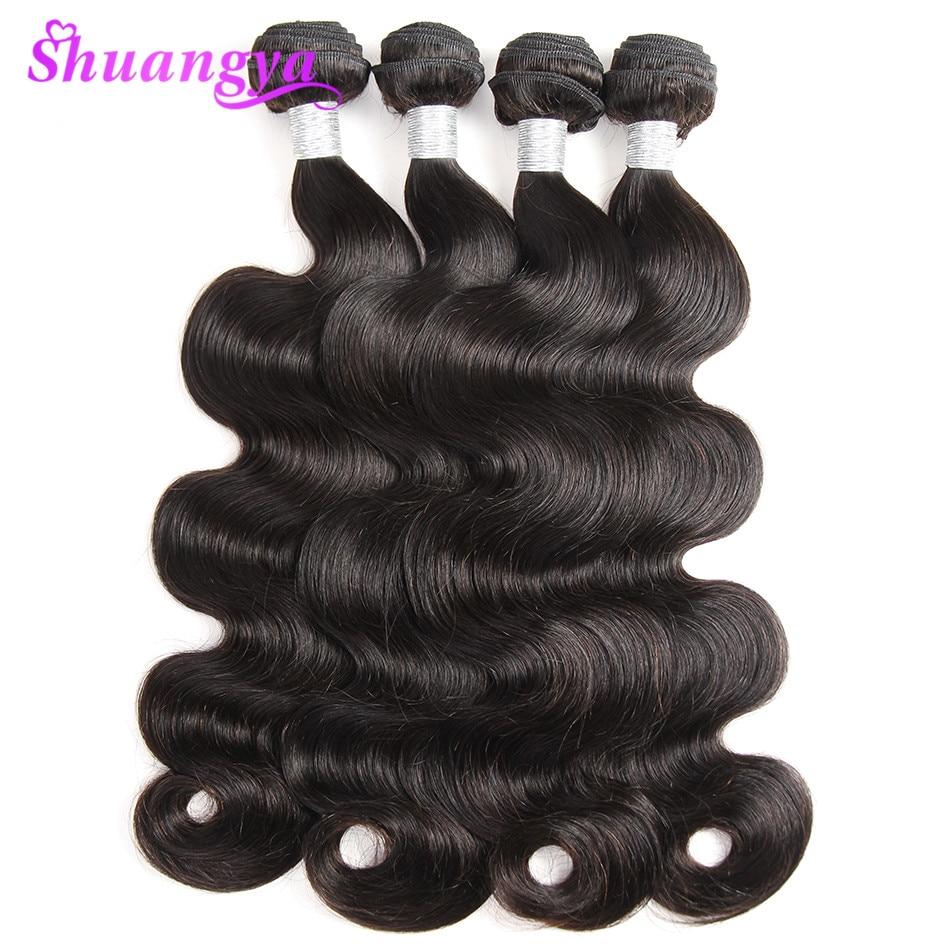 Shuangya Remy Hair Brasilian Body Wave 8-28 Tommers Human Hair Weave - Menneskelig hår (for svart)
