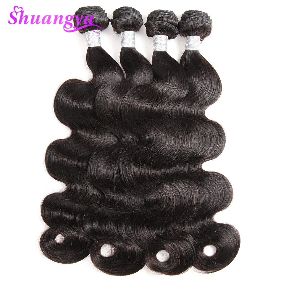 Shuangya Remy Hair Brazil Body Wave 8-28 inci Manusia Rangkai Rambut - Rambut manusia (untuk hitam)