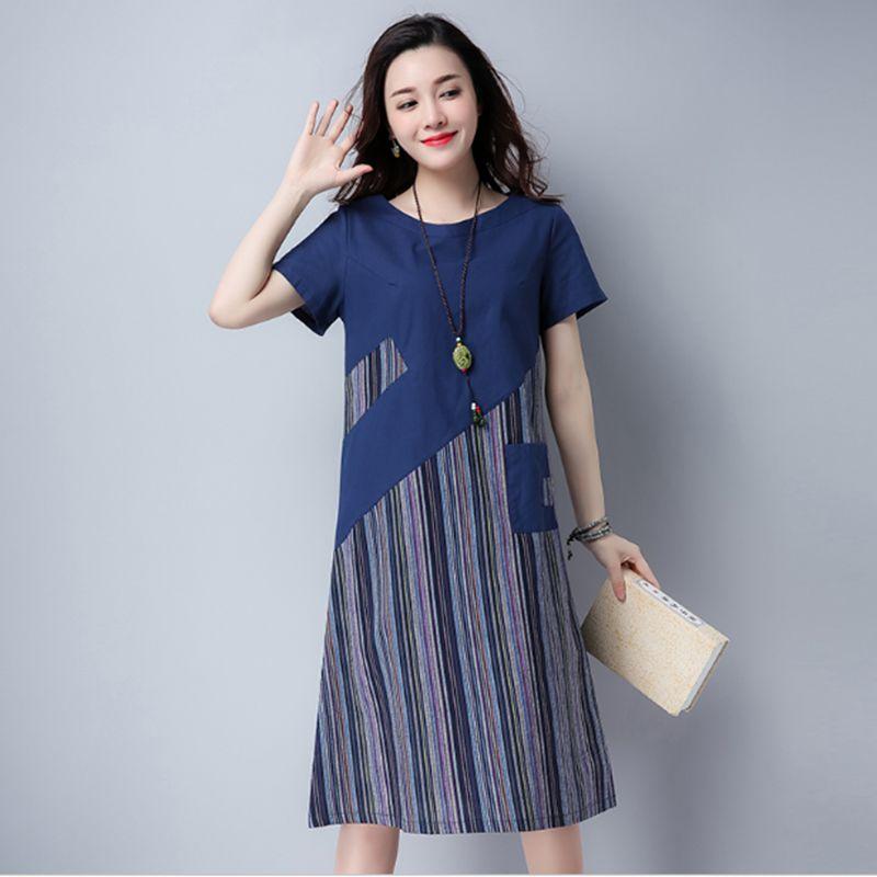 2018 Women Summer Linen cotton Floral Striped Vintage Retro Style Female O-Neck Short sleeve Pocket Casual Loose Dresses CM009 2