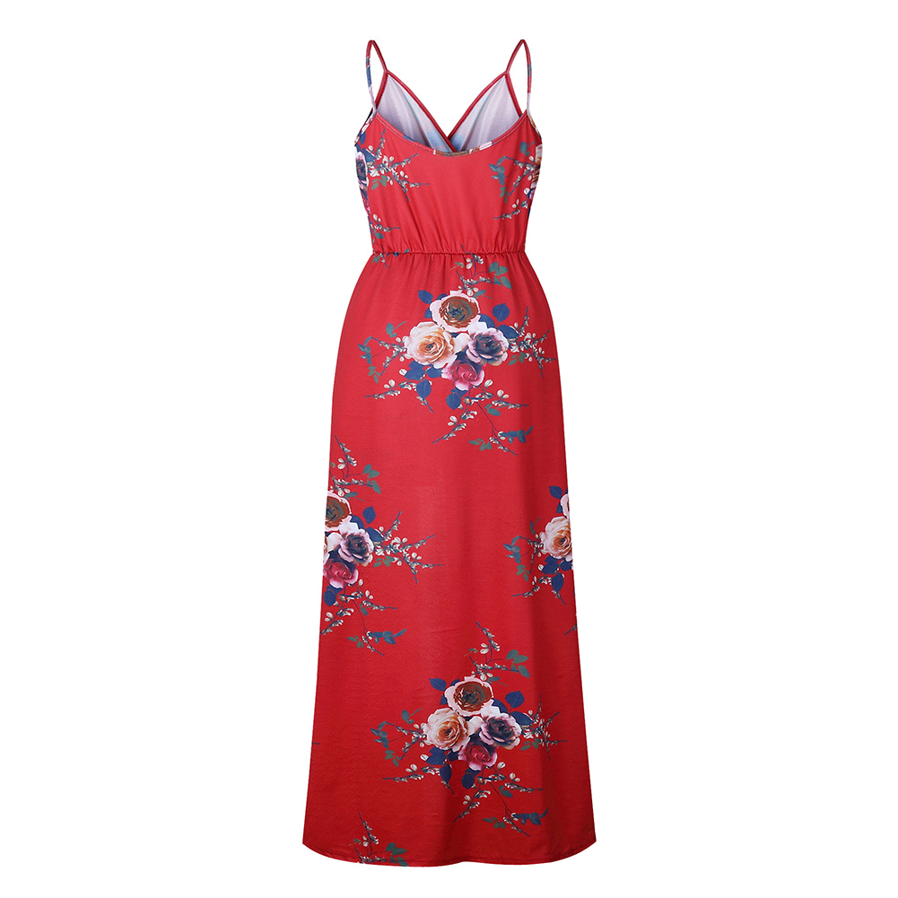 Sexy Women V Neck Spaghetti Strap Floral Print Romper Jumpsuit Long Maxi Dress