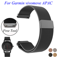 For Garmin Vivomove APAC Wristband 20mm Quality Stainless Steel Watch Strap Black Gold Milanese Metal Bracelet