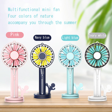 Rechargeable Mini Fan Usb Zipper Handheld Small Desk Desktop Cooling Portable Cooler with Phone Holder &Mini Mirror