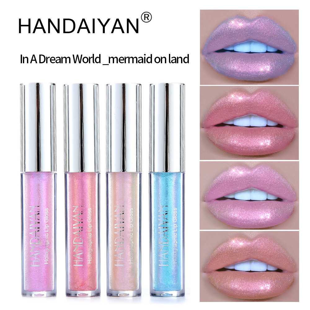 12pcs/lot HANDAIYAN Party Polarized Light Sexy Colorful Lipstick Lip Gloss Pigment Liquid Fashion Makeup lips Cosmetic