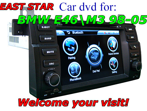 car dvd system for BMW E46 M3 with GPS radio usb sd mp3 mp4 bluetooth ipod gps dvb-t canbus 2pcs/lot ES-1745