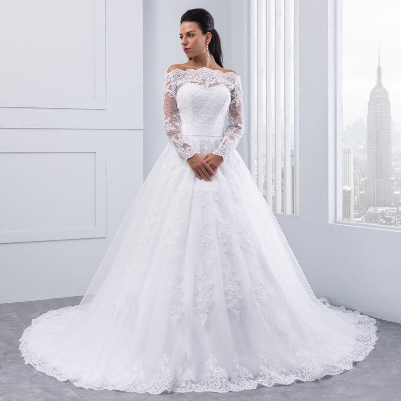 Miaoduo Vestidos De Novia 2019 Long Sleeve Lace Wedding Dress Ball Gown Wedding Dresses Robe De Mariage Bridal Gowns bruidsjurk-in Wedding Dresses from Weddings & Events    2