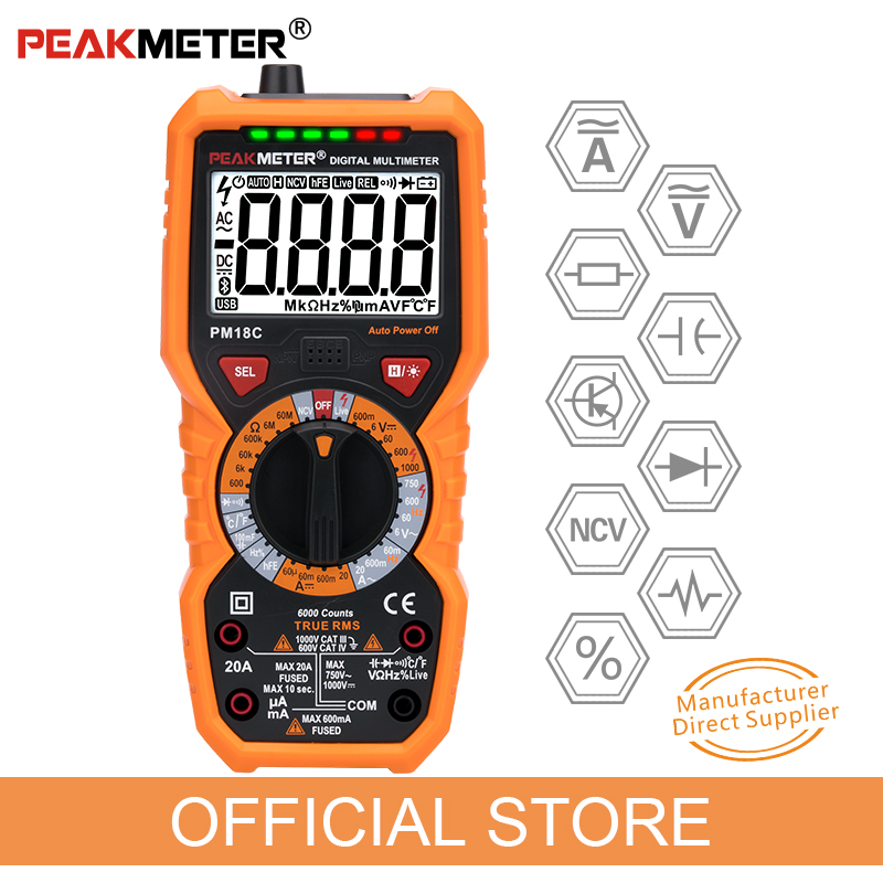 peakmeter pm18c s pravými rms - Official PEAKMETER Digital Multimeter PM18C with True RMS AC/DC Voltage  Resistance Capacitance Frequency Temperature NCV Tester
