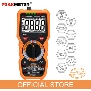 Image 1 - Official PEAKMETER Digital Multimeter PM18C with True RMS AC/DC Voltage  Resistance Capacitance Frequency Temperature NCV Tester