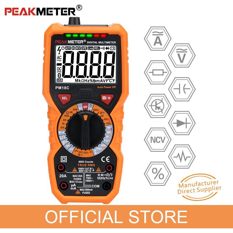 Oficial PEAKMETER PM18C com RMS Verdadeiro Multímetro Digital AC/DC Tensão Resistência Capacitância Frequência Temperatura NCV Tester