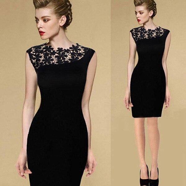 Women Stretch Lace Crochet Slim Bodycon Pencil Dresses Club Desses Vintage Style Pencil Dress