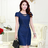 Women S Jeans Dress 2017 Spring Summer Fashion Casual Blue Slim V Neck Belts Full Length