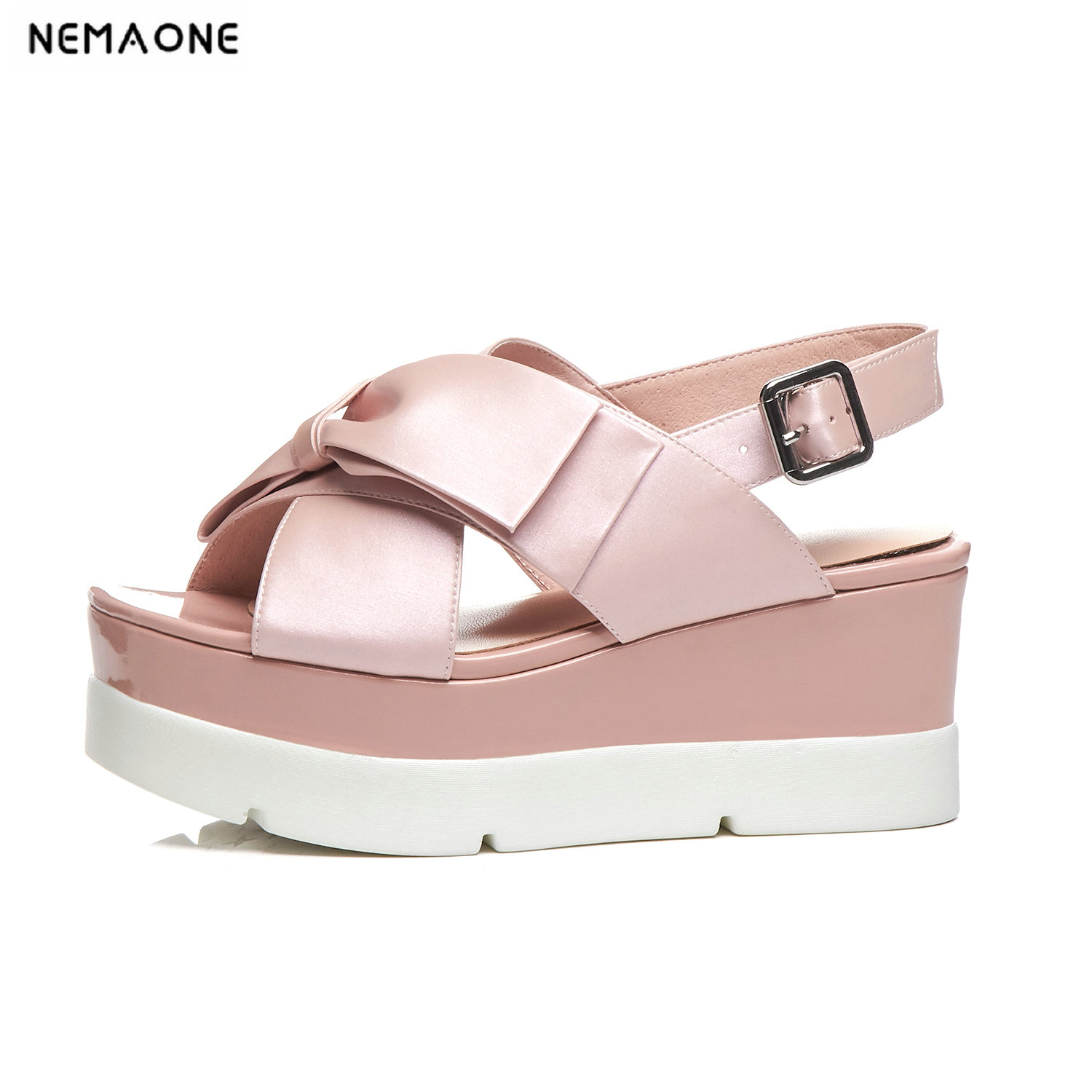 NEMAONE wedges High heels platform women sandals genuine leather ladies shoes woman women sandals large size