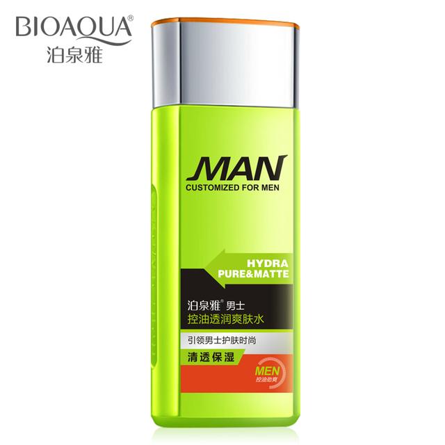 Bioaqua Men aceite Control Toners loción hidratante Control de aceite reducir los poros del acné tratamiento iluminando lucha contra el envejecimiento