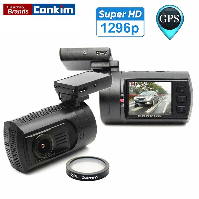 imágenes para Coche DVR Mini 0806 Dash Cam Cámara Grabadora Ambarella A7LA50 súper 1296 P Con GPS Sensor de Aparcamiento Con CPL Filtro Automático cámara