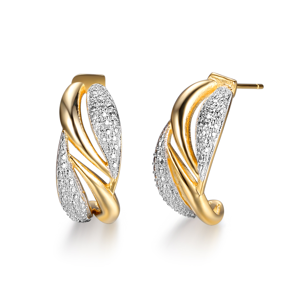 Yellow Gold Sterling Silver Twotone Twisted Jhoop Earrings Aaa Cz  Engagement Hoop