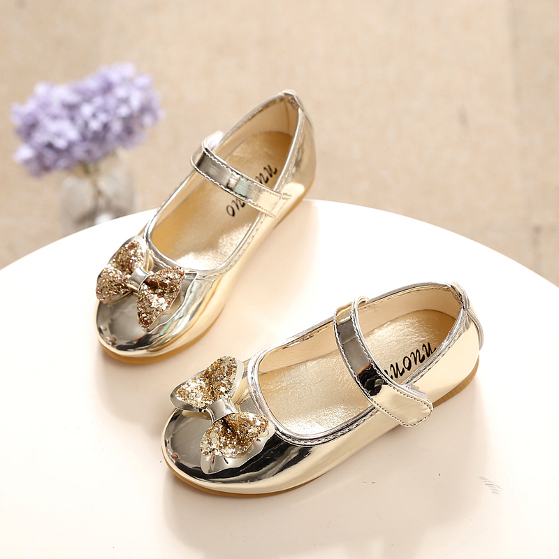 Childrens shoes girl children leather shoes single shoes princess bowknot silver gold sequins cuhk kids shoes