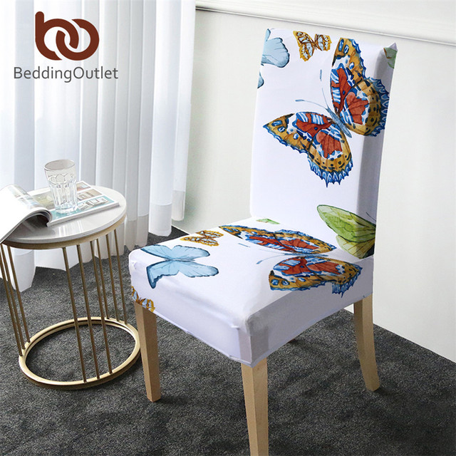 BeddingOutlet Flying Butterfly Chair Cover Removable Big Elastic Slipcover Spring Printing Stretch Seat Case for Banquet Wedding