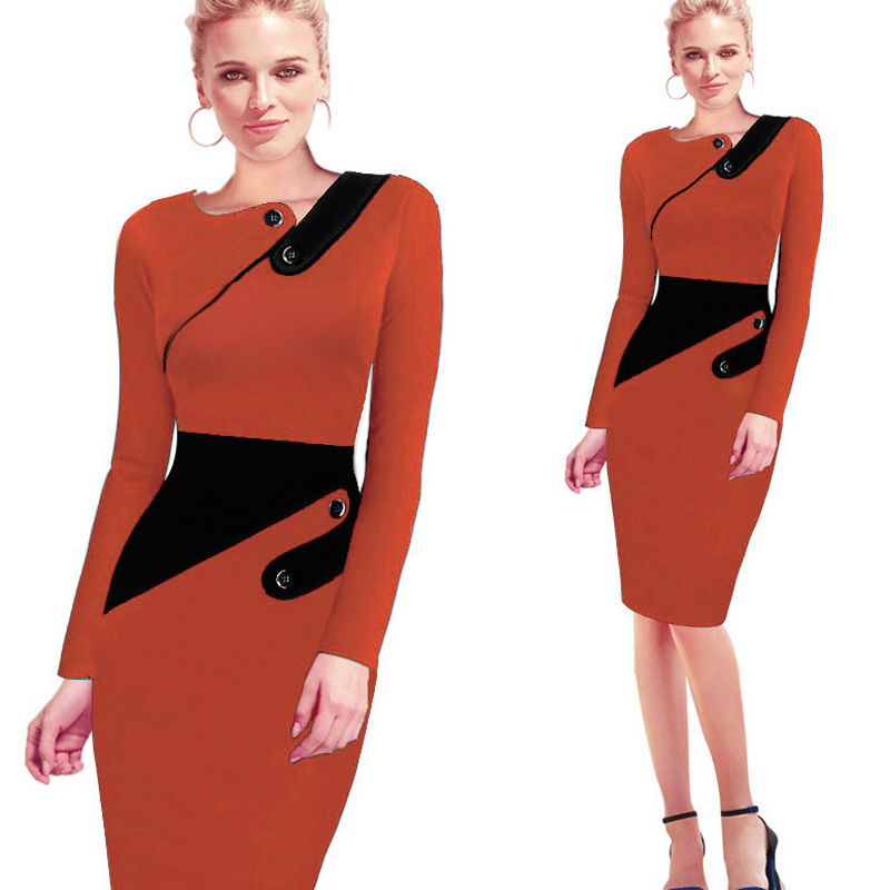Черное платье туника для женщин Формальная работа Офис Оболочка Лоскутная линия Асимметричная шея длина до колена размера плюс карандаш платье B63 B231