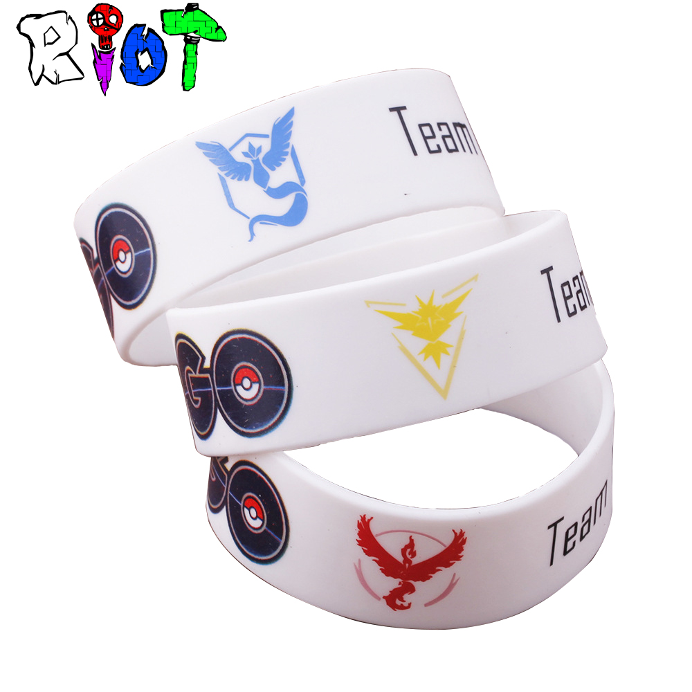 New Game Pokemon GO Bracelet Team Valor Instinct Mystic Logo Bangles Bar Yellow Red Blue Silicone Personalized for manWomen fans image