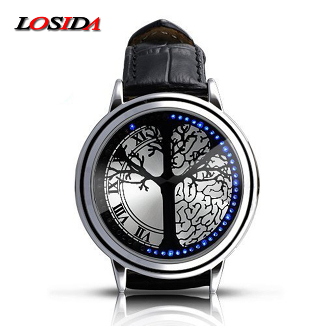Losida Normal Waterproof Minimalist Smart Watch Leather Creative Personality Tree Women Watch Electronics Touch Men LED Watches