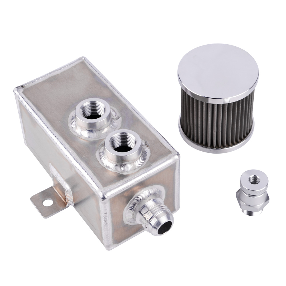 Aluminum Oil Catch Can Reservoir Tank w// Breather /& Baffled Filter Drain Tap 3L