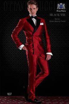 Groomsmen Shiny Red Groom Tuxedos Newest Men Suits Peak Black Lapel Best Man 2 pieces Bridegroom Suit ( Jacket+Pants+Tie ) C583