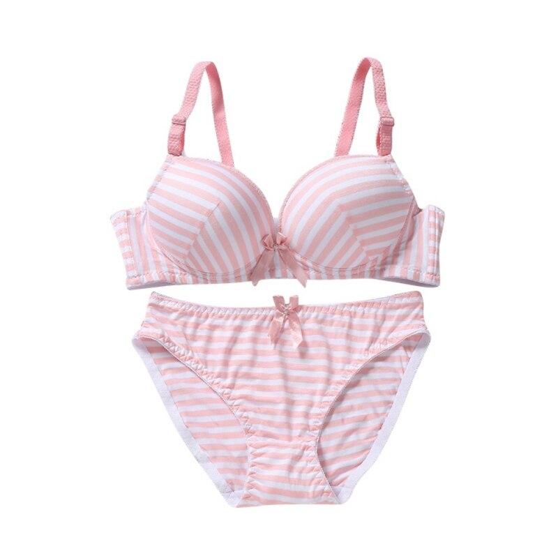 3 Color Thin Women's Seamless Stripe   Bra     Sets   Gather Adjustable   Bras   Padded Brassiere Lingerie Underwear +   Brief     Sets