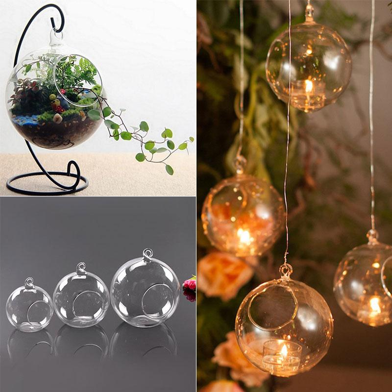 Hanging Candle Tea Light Holder Round Candle Light Holder Clear Candlestick Glass Christmas Home Wedding Party Dinner Decor image