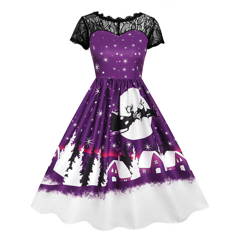 Detail Feedback Questions about Women Retro Christmas Dresses Vintage Short  Sleeve Long Vestidos 2018 Plus Size Winter New Year Santa Claus Print Party  ... 0acb83705a98
