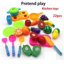 22pcs/set Children Kitchen Food Fruit Vegetable Pans Cutting Toys Pretend Play Educational Cooking Set Toy