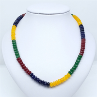Vintage Classic Natural Stone Jewelry Noble Multicolor Beaded Chain Choker Necklace